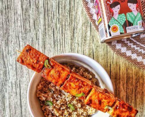 brocheta de tofu
